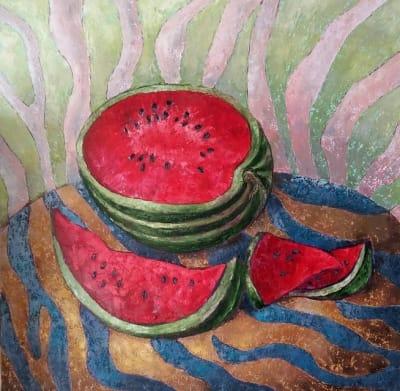 Картина маслом натюрморт с арбузом 1«Полосатый натюрморт»