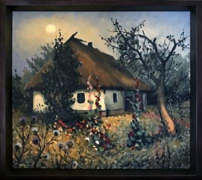 Картина маслом пейзаж «Мамина хата» -  картины для современных интерьеров Украина - живопись пейзаж