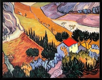 «Пейзаж с домом и пахарем» -  копия Ван Гога - картины для современных интерьеров Украина - живопись пейзаж