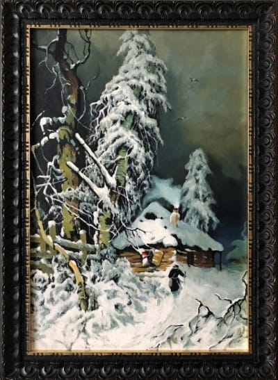Картина маслом пейзаж «Зима» (копия Ю. Клевер) -  картины для современных интерьеров Украина - живопись зимний пейзаж
