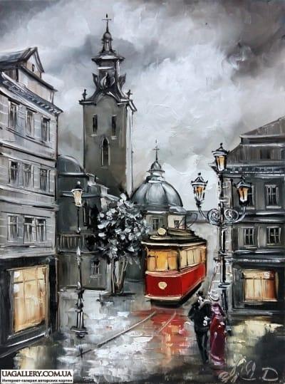 Картина «Улицами вечернего Львова»