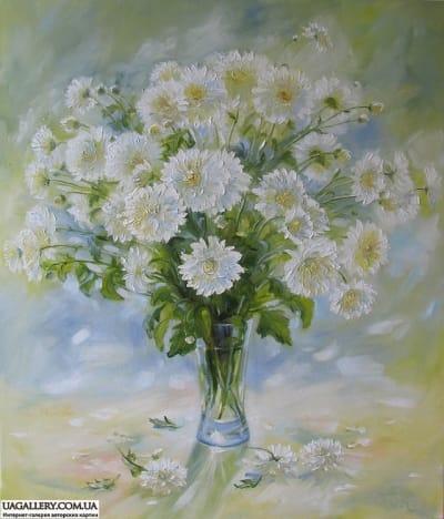 Картина «Белые хризантемы»