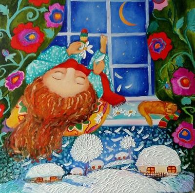 Картина детям «Любит, не любит...» купить картину маслом Украина