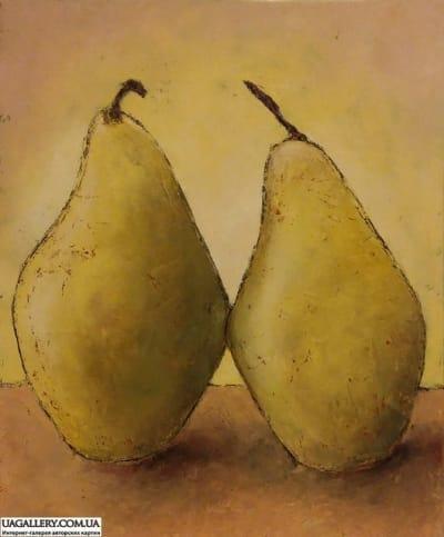 Картина маслом натюрморт с грушами 1«Желтый натюрморт с грушами»