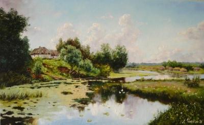 Картина пейзаж «Село на берегу реки» копия А.А. Киселева купить живопись для современных интерьеров Украина