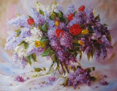 Картина маслом сирень «Воспоминания о весне»