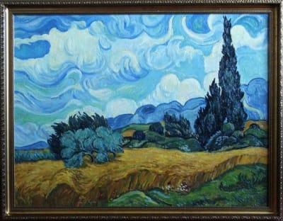 Картина «Пшеничное поле с кипарисом», копия картины Ван Гога