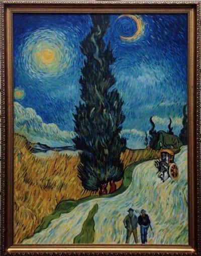 Картина «Пейзаж с дорогой, кипарисом и звездой», копия картины Ван Гога