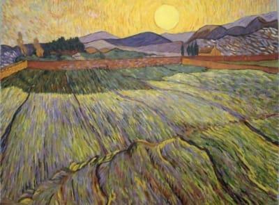 Картина «Пшеничное поле с заходящим солнцем», копия картины Ван Гога