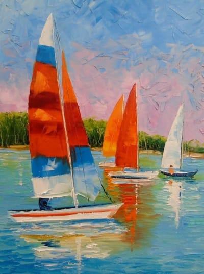 Картина «Парусники на реке»
