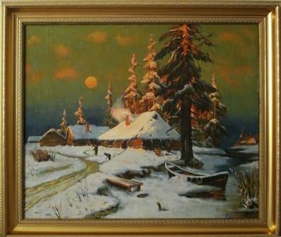 Картина «Зима. Вечер», копия картины Клевер Ю.