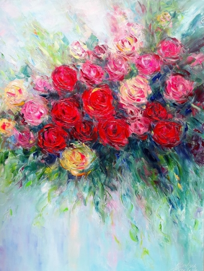 Картина маслом цветы розы «Букет ярких роз» купить живопись Киев