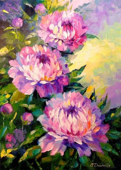 Картина маслом цветы «Пионы» - живопись для современных интерьеров Украина