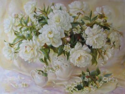 Картина белые пионы «Чувства пионов»