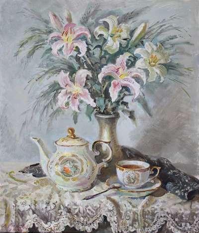 Картина «Натюрморт с лилиями и сервизом»