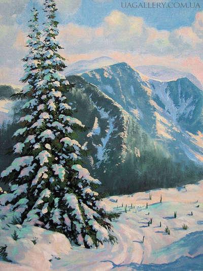 Картина «Зима. Заснеженные горы»