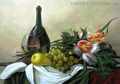 Натюрморт с вином и фруктами