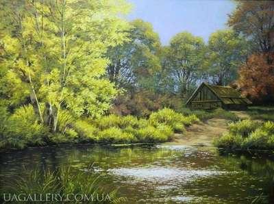 Картина пейзаж Домик в лесу