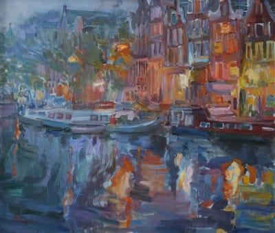 Картина городской пейзаж «Амстердам. Сумерки» купить живопись для современных интерьеров Украина