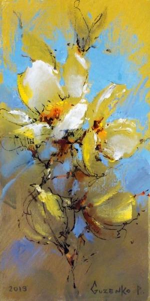 Картина маслом с цветами «Белые цветы» купить живопись для современных интерьеров Киев