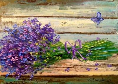 Картина маслом цветы «Букет лаванды» - живопись для современных интерьеров Украина
