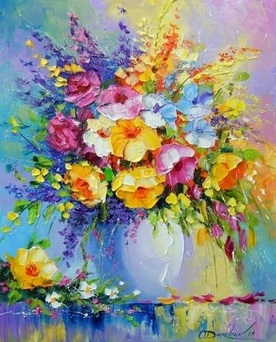 Картина маслом «Букет летних цветов» купить живопись для современных интерьеров Украина