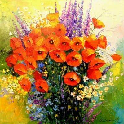 Картина маслом цветы «Букет маков» - живопись для современных интерьеров Украина
