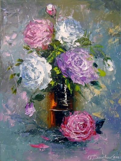 Картина маслом цветы «Букет роз» купить живопись для современных интерьеров Киев