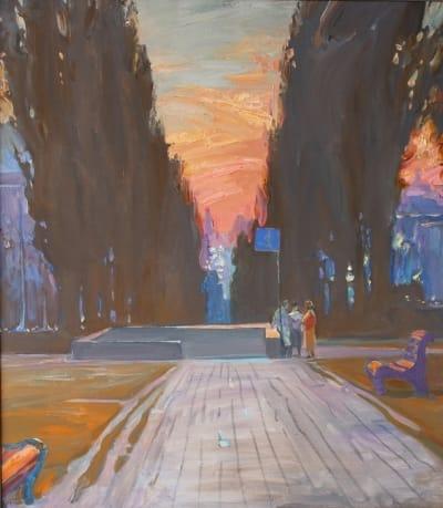 Картина маслом зимний киевский пейзаж «Бульвар Тараса Шевченка» купить живопись для современных интерьеров Украина