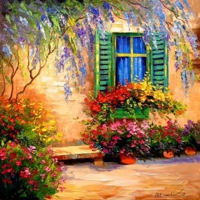 Картина маслом летний пейзаж «Цветущий дворик» - картины для современных интерьеров Украина