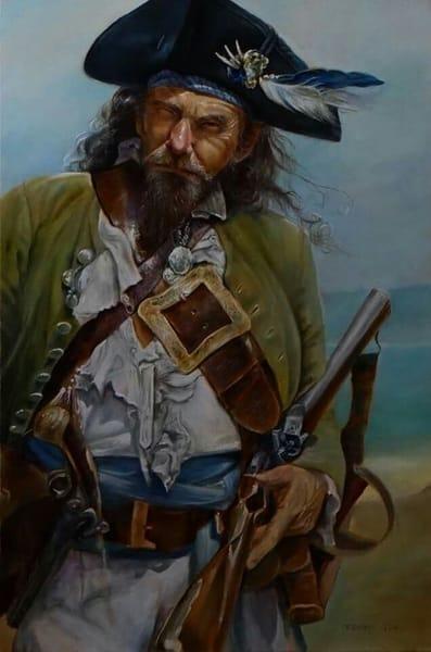 Картина «Эдвард Тич (Черная Борода)» выполнена в технике старых мастеров
