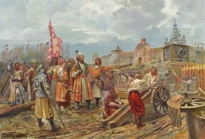 Картина маслом исторический пейзаж «Гетьман Сагайдачный перед Арбатскими воротами Москвы » купить живопись для современных интерьеров Киев
