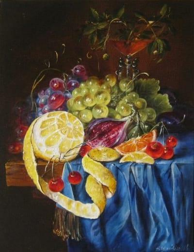 Картина натюрморт «Голландский натюрморт с лимоном» купить живопись для современных интерьеров Украина