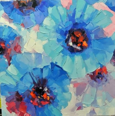 Картина «Голубые цветы»