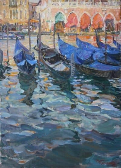 Картина маслом пейзаж «Гранд канал. Венеция» купить живопись для современных интерьеров Украина