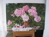Картина «Пионы в саду»