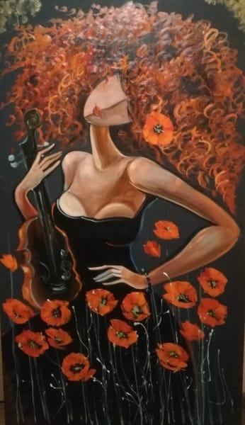 Картина «Девушка с маками»