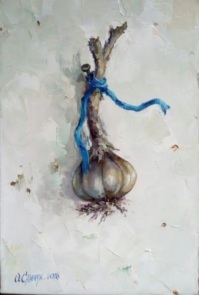 Картина маслом «Чесночок» - живопись для современных интерьеров Украина