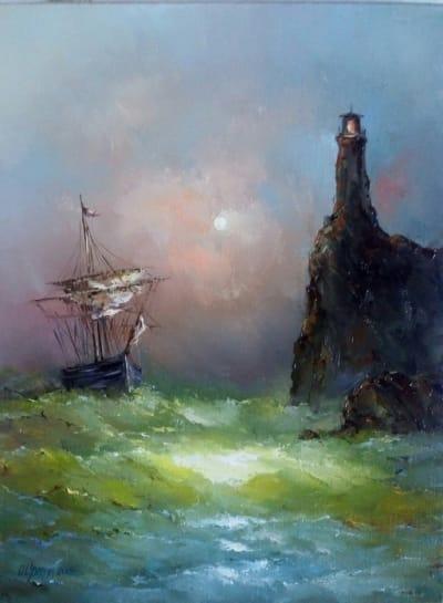 Картина маслом морской пейзаж «Маяк» - картины для современных интерьеров Украина