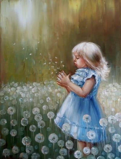 Картина маслом детская тематика «Одуванчик» - купить живопись для современных интерьеров Украина