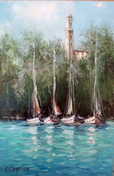 Картина маслом морской пейзаж «Италия» купить картины для современных интерьеров Украина