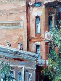 Картина маслом киевский пейзаж «Киев, ул. Ярославов Вал. Дом барона» купить картины для современных интерьеров Украина