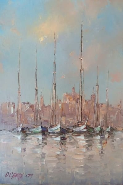 Картина маслом море «Яхты» купить картины для современных интерьеров Украина