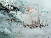 Картина маслом зимний пейзаж «Семья» купить картину Киев