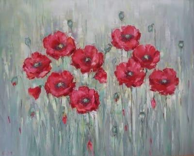 Картина цветы «Маки» купить живопись для современных интерьеров Украина