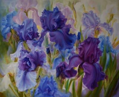 Картина цветы «Ирисы» купить живопись для современных интерьеров Украина