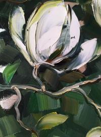 Картина маслом цветы «Магнолия» купить современную живопись Украина