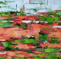 Картина маслом абстракция «Клубничный фреш» купить картины для современных интерьеров Украина