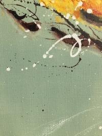Картина маслом абстракция цветы «Одуванчик» - купить картину для современного интерьера