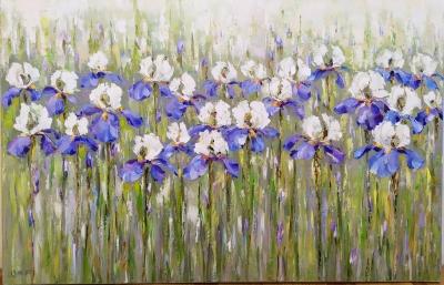 Картина маслом цветы «Ирисы» купить живопись летний пейзаж Украина